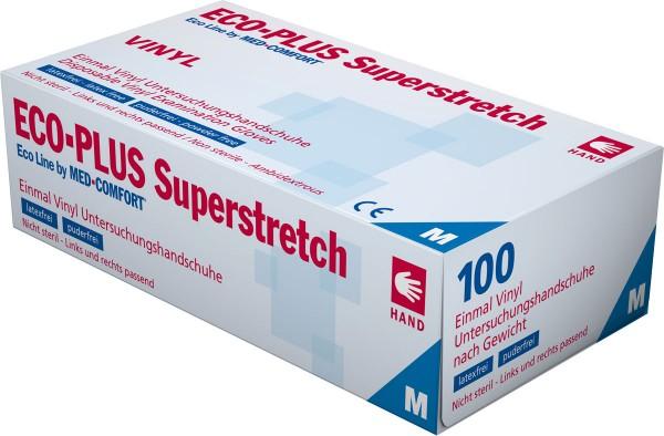 ECO-PLUS SUPERSTRETCH Vinyl-Handschuh transparent, puderfrei, Box à 100 Stück