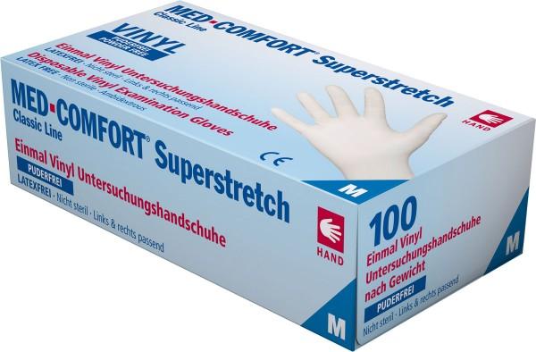 MED-COMFORT SUPERSTRETCH Vinyl-Handschuh weiß, puderfrei, Box à 100 Stück