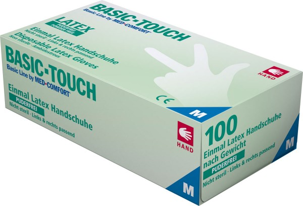 BASIC-TOUCH Latex-Handschuhe puderfrei, hellbeige, Box à 100 Stück
