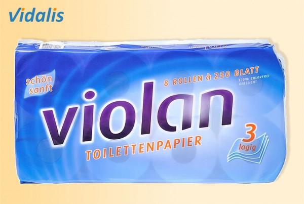 Toilettenpapier VIOLAN, 3-lagig mit Dekorprägung, hochweiß, Paket mit 9 x 8 Rollen