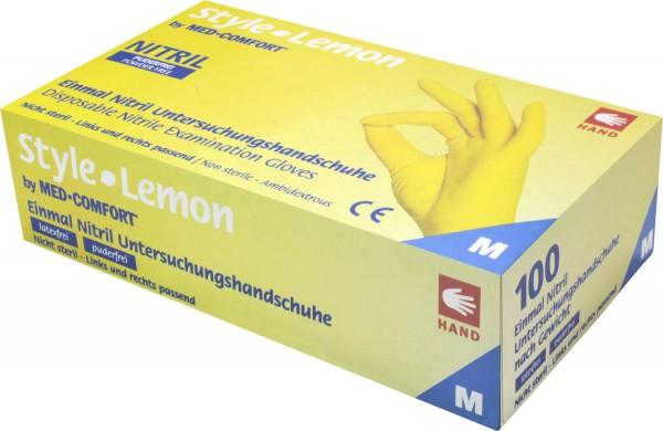 STYLE LEMON Nitril-Handschuhe gelb, Box à 100 Stück