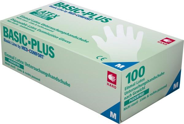 BASIC-PLUS Latex-Handschuhe puderfrei, transparent, Box à 100 Stück