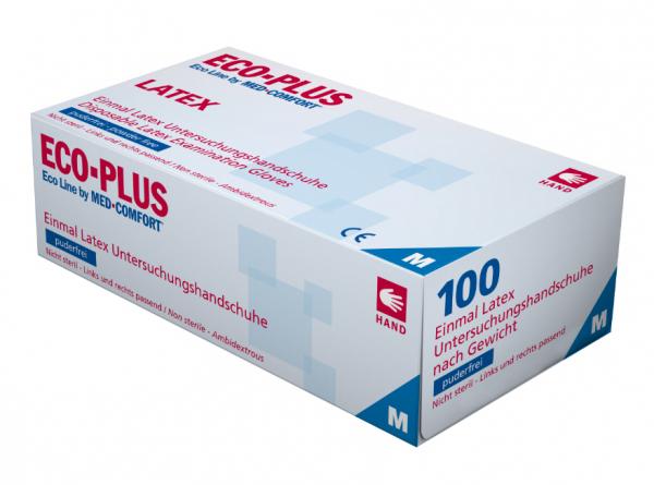 ECO-PLUS Latex-Handschuhe puderfrei, Box à 100 Stück