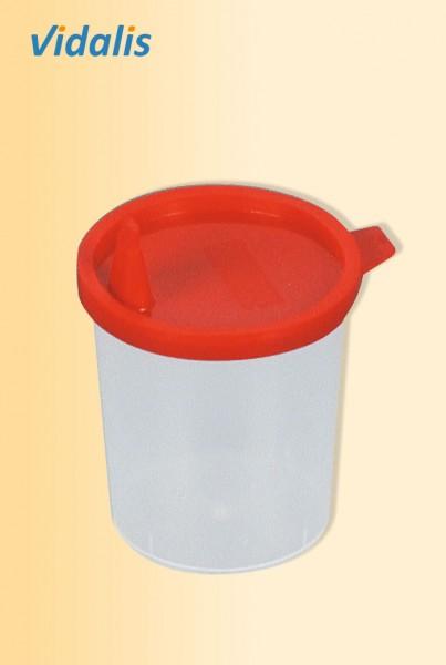 Urinprobenbecher 125-ml, graduiert mit Schnappdeckel, Karton à 500 Stück