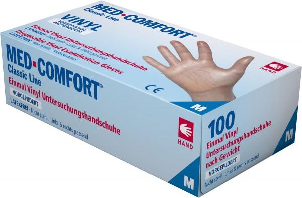 MED-COMFORT Vinyl-Handschuh transparent, gepudert, Box à 100 Stück