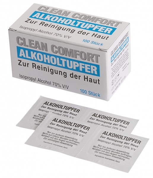 Alkoholtupfer Clean Comfort, getränkt mit 70%igem Isopropyl-Alkohol