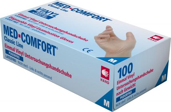 MED-COMFORT Vinyl-Handschuh transparent, puderfrei, Box à 100 Stück