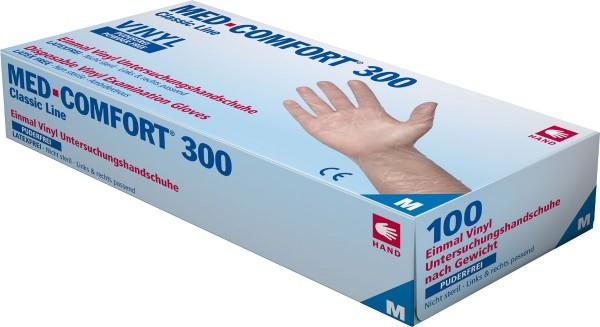 MED-COMFORT 300 Vinyl-Handschuh transparent, puderfrei, Box à 100 Stück