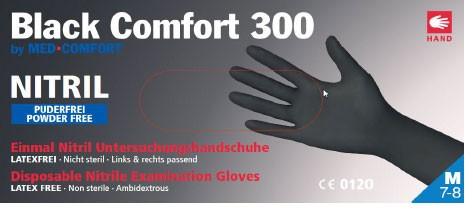 e9775b916b4c8e BLACK-Comfort 300 Nitril-Handschuhe schwarz, Box à 100 Stück ...
