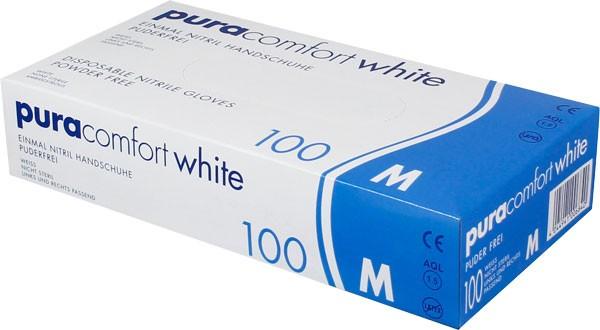 PURA Comfort White Nitrilhandschuhe, Box à 100 Stück
