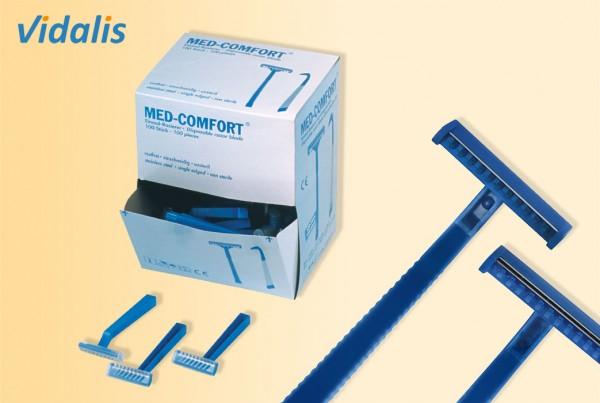 MED-COMFORT Einmal-Rasierer zweischneidig, blau, Box à 100 Stück