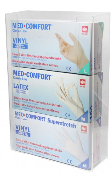 Handschuh-Dispenserhalter für 3 Boxen, Plexiglas/Acryl, 1 Stück