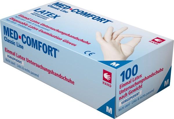 MED-COMFORT Latex-Handschuhe gepudert, weiß, Box à 100 Stück