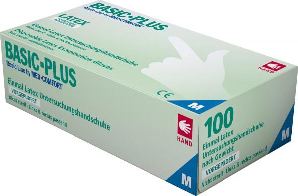 BASIC PLUS Latex-Handschuhe gepudert, weiß, Box à 100 Stück