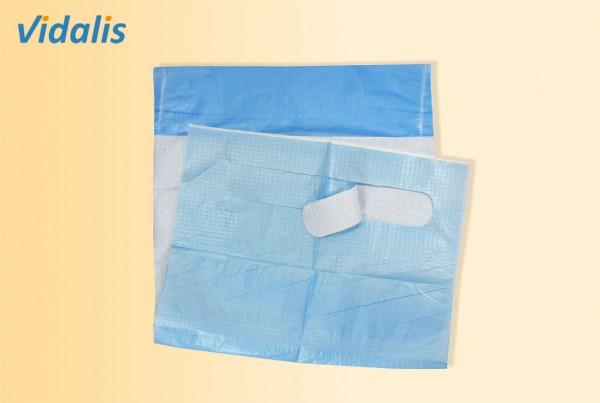 Einmal-Esslätzchen blau, mit Auffangtasche, Karton mit 10 x 50 Stück